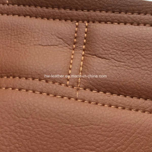 Stiched Microfiber Leather with Sponge Back for Car Seats Hx-M1703 pictures & photos