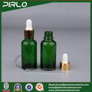 5ml 10ml 15ml 20ml 30ml 50ml 100ml Green Glass Essential Oil Dropper Bottle with Metal Dropper Cap pictures & photos
