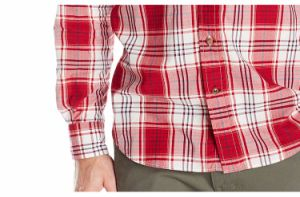 Men′s Classic Fit Cotton Long Sleeve Red Plaid Shirt pictures & photos