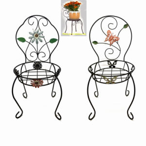 Wholesale Garden Decoration Metal Linellae Chair Flowerpot Stand pictures & photos