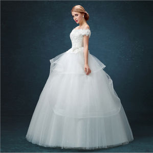 Satin Lace Puffy Ball Gown Wedding Dress (Dream-100069) pictures & photos