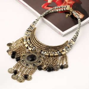 Fashion Vintage Coin Gemstone Resin Tassel Pendant Choker Necklace Jewelry pictures & photos