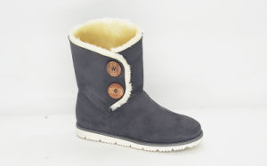 Women′s Snow Low Boots with Buttons