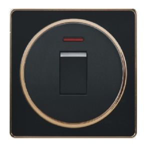 British Standard Black Golden-Framed One Gang 25A Wall Switch