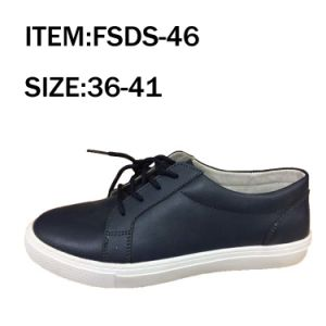 Lace up Navy Women Flat Casual Shoes pictures & photos
