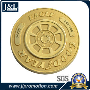 Die Casting Zinc Alloy Metal Coin Shiny Gold Plating with Sandblasting pictures & photos
