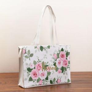 Floral Pattern White Canvas PVC Shopping Bag (H021-19) pictures & photos