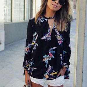 Women′s Chiffon Blouse 2017 Fashion Floral Printing Loose Long Sleeve Tops Summer Women Cloths pictures & photos