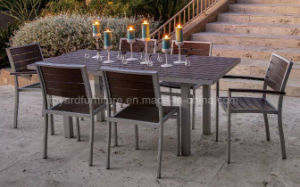 European Modern Aluminum Frame Polywood Top 60′′ Rectangle Dining Outdoor Garden Table pictures & photos