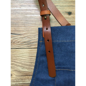 Vintage Handmade Blue Canvas Artisan Apron with Leather Strap pictures & photos