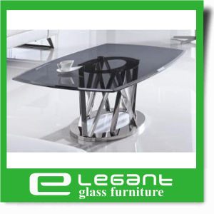 Black Painted Glass Coffee Table with Stainless Steel Base pictures & photos