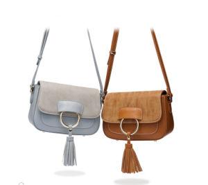2017 New Designer Imiation Suede Trim/PU Leather Tassel Crossbody Handbag for Women pictures & photos