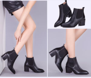 Casual Lady Pointed-Toe High Heels Shoes Women Leather Chelsea Boots pictures & photos