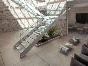 U Channel Stringer Glass Staircase U Shape Toughened Glass Stairs pictures & photos