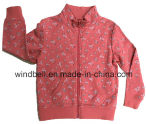 Princess Zip Jacket for Girl with All-Over Rose Print pictures & photos
