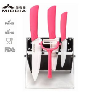 5PCS Zirconia White Blade Ceramic Cooking Knife Set with Block pictures & photos