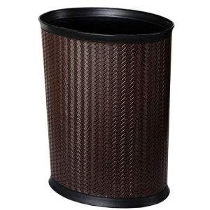 10L Brown Plastic Waste Bin with Leatherette Cover pictures & photos