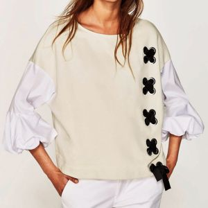 Fashion Women Leisure Loose Stitching Color Puff Sleeve Bandage Blouse pictures & photos