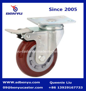 Medium Duty Purplish Red Caster with Double Brake pictures & photos