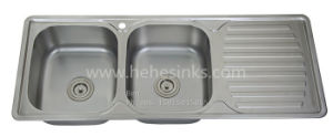 47-1/5 X 18-7/8 Stainless Steel Top Mount Equal Double Bowl Kitchen Sink with Drain Board pictures & photos