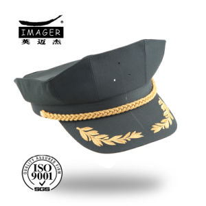 Green Army Military Cap with Gold Chin Strap pictures & photos