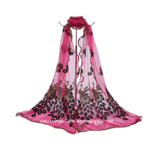 Women Embroidered Peacock Long Shawl Scarf pictures & photos