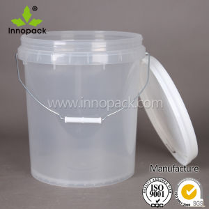 China transparent clear food grade 20l plastic bucket with for 1 gallon clear plastic paint cans