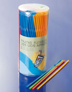 Mix Color Flexible Straw with Plastic Barrel Packing pictures & photos