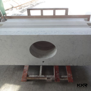 White Engineered Quartz Stone Countertop for Kitchen pictures & photos