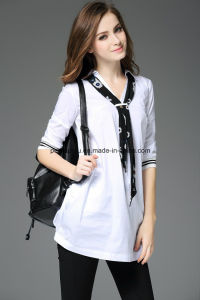 Fashion Pure Color Polo-Neck Women Shirt with Necktie Ladies Blouse pictures & photos