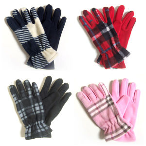 Lady Fashion Checked Polar Fleece Knitted Winter Warm Gloves (YKY5447) pictures & photos