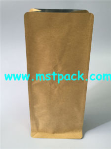 Flat Bottom Bag Quad Sealed Box Pouch for Coffee Packaging pictures & photos