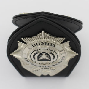 Custom Metal Soft Enamel 3D Detective Leather Wallet Police Badge pictures & photos