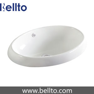 Oval Ceramic Self Rimming Bathroom Basin with Toilet (6217B) pictures & photos
