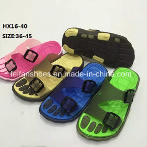 Lady and Men Colorful Casual Summer Beach Slipper PVC Slipper Sandal Shoes (HX16-40) pictures & photos