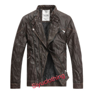 Men Brown Leather Casual Fashion Clothing Waterproof Jacket (J-1616) pictures & photos