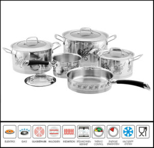9PCS Decal Coasting Stainless Steel Cookware Set pictures & photos