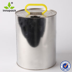 5L Round Metal Tin Can with Plastic Handle pictures & photos