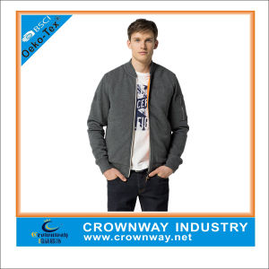 Young Men Stylish Fashion Plain Dark Gray Zip Fleece Sweat Jacket Without Hood pictures & photos