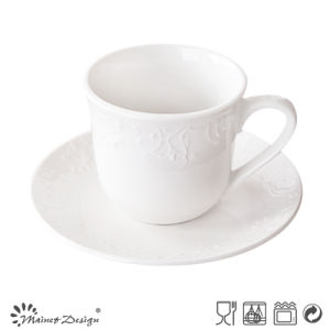 Embossed High White Porcelain Tea Cup and Saucer pictures & photos