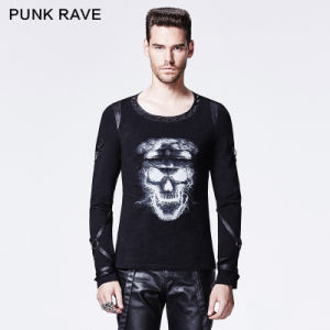 Punk Rave 2015 Autumn New Design Black Man T-Shirt (T-419) pictures & photos