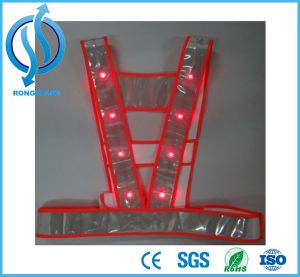 Red LED Reflective Security Fluorescent Safety Vest Clothing pictures & photos