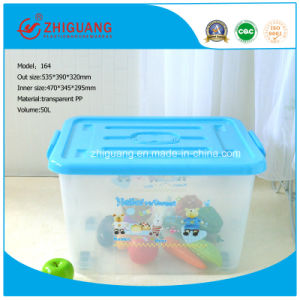 Varied Size Plastic Storage Box 50L Transparent Removeable Plastic Box with Handles pictures & photos