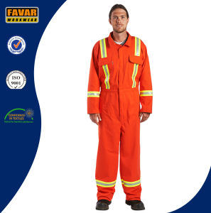 Mens Cotton Orange High Visibility Safety Coveralls pictures & photos