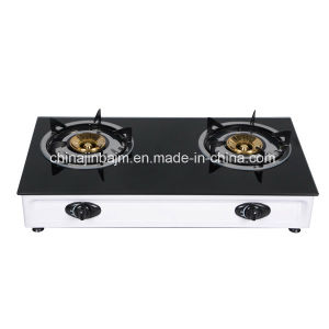 2 Burners Tempered Glass Top Stainless Steel Table Top Gas Cooker/Gas Stove pictures & photos