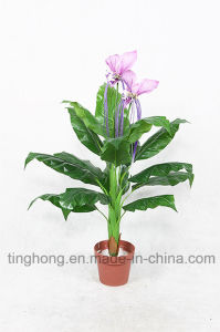 Home Decoration Artificial Plants with 15 Leaves and 2 Flowers