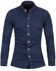 Fashion Men′s Washed Cotton Casual Denim Jeans Shirt