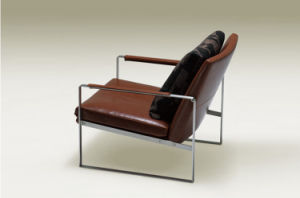 Fabric or Leather Leisure Chair with Stainless Steel Base (LCS-001) pictures & photos
