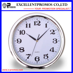 Silver Frame Logo Printing Round Plastic Wall Clock (Item22) pictures & photos