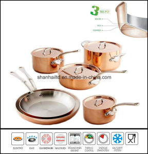 10PCS 3ply Copper Clad Body Cookware Set pictures & photos